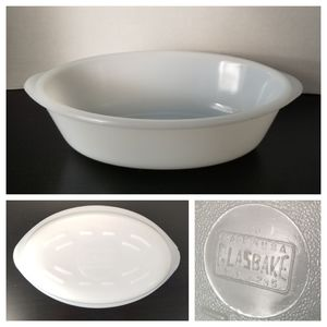 Vintage Glasbake 1 Qt J-235 White Casserole Dish